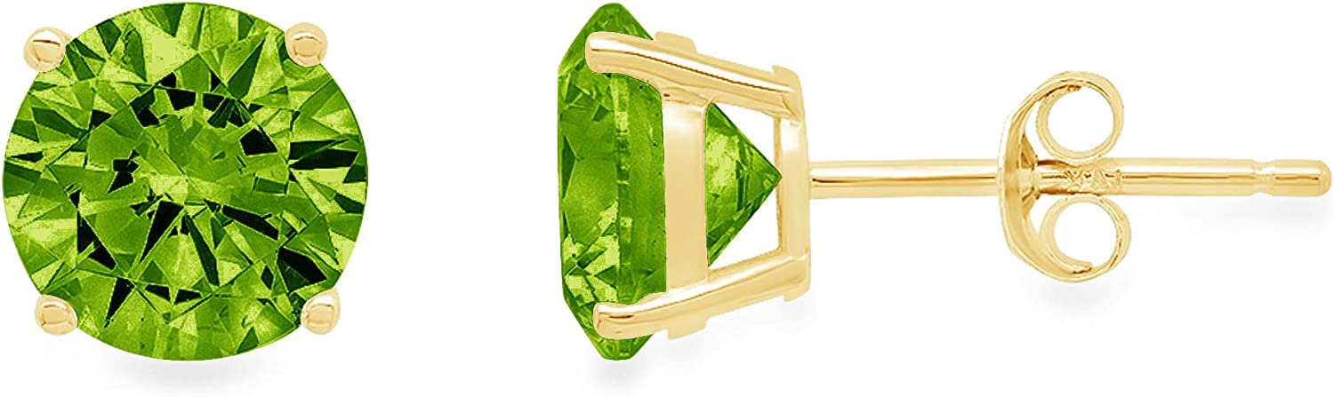 Clara Pucci 3.1 ct Brilliant Round Cut Solitaire Genuine VVS1 Flawless Natural Green Peridot Gemstone Pair of Stud Earrings Solid 18K Yellow Gold Push Back