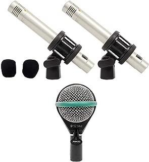 AKG D112 MKII Kick Drum Bass Guitar Microphone+Samson Pair Pencil Overhead Mics
