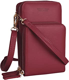 Women Small Cellphone Crossbody Purse Wallet Mini Lightweight Leather Cross Body Cell Phone Bag with Strap Card Slots
