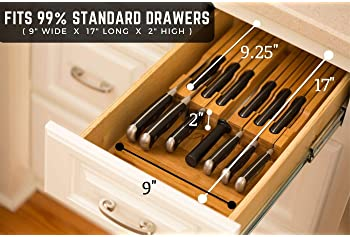 In-Drawer Bamboo Knife Block Holds 16 Knives (Not Included) Without Pointing Up PLUS a Slot for your Knife Sharpener!...