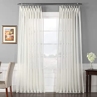 HPD Half Price Drapes SHCH-VOL3-120-DLDW Double Layered Extra Wide Sheer Curtain (1 Panel), 100 X 120, Off White