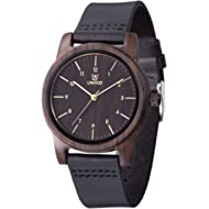 Wooden Watch,BIOSTON Handmade Unisex Military Quartz Casual Leather Wristwatches