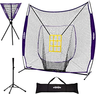 Sponsored Ad - Zupapa 7 x 7 Feet Baseball Softball Net Tee Caddy Set, Hitting Pitching, Baseball Backstop Practice Net for...