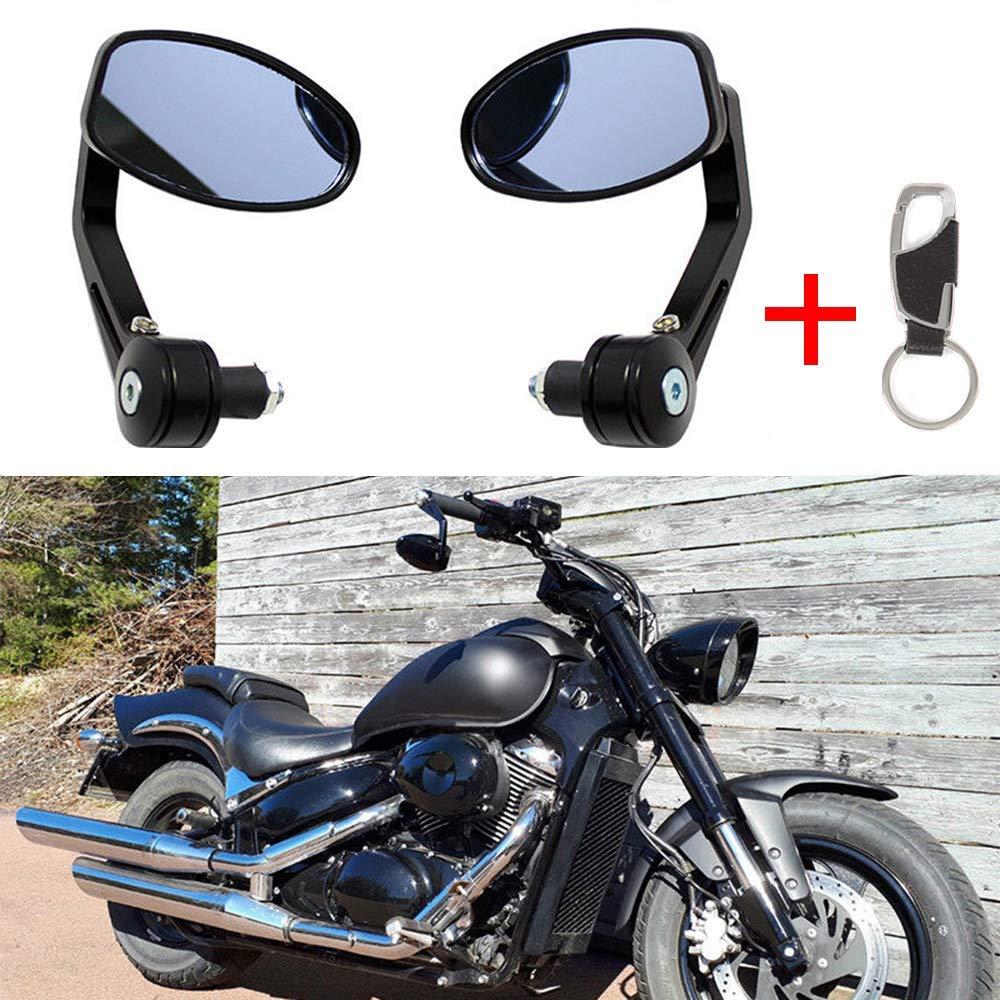 7//8 22mm Negros Espejos de manillar de la motocicleta moto de aluminio universal espejos laterales espejos retrovisores laterales para Scooter Cruiser moto deportiva Chopper