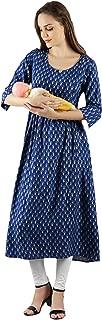 Diya Art Women's Rayon Maternity A-Line Kurta/Dress/Breastfeeding/Nursing/Easy Feeding kurti with Zip for Pre and Post Pregnancy