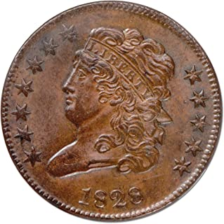 1828 Classic Head 12 Stars Half Cent MS63 NGC