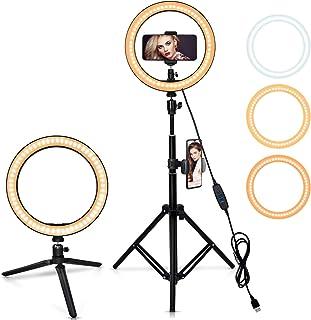 12インチ自撮りリングライト、調節可能な三脚付き、3色モード10輝度、携帯スタンド付き、ミニ三脚、Vlog、youtube用照明、生放送、自撮りなどの動画撮影に対応 スマホ生放送用照明、顔美化・肌美化ライト、生放送人気ライト、撮影用多機能照明、...