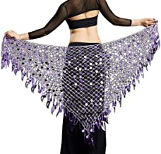 Aivtalk Women Belly Dance Hip Scarf Sequins Mesh Triangle Wrap Skirts