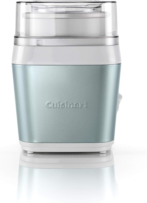 Cuisinart ICE31GE Heladera 1.4L, Maquina para Hacer Helado Cremoso y Saludable, Paleta Especial Fruta, Helado Casero en 25 Minutos, Acero Inoxidable, Fácil de Usar, Tapa Transparente, Verde Pistacho