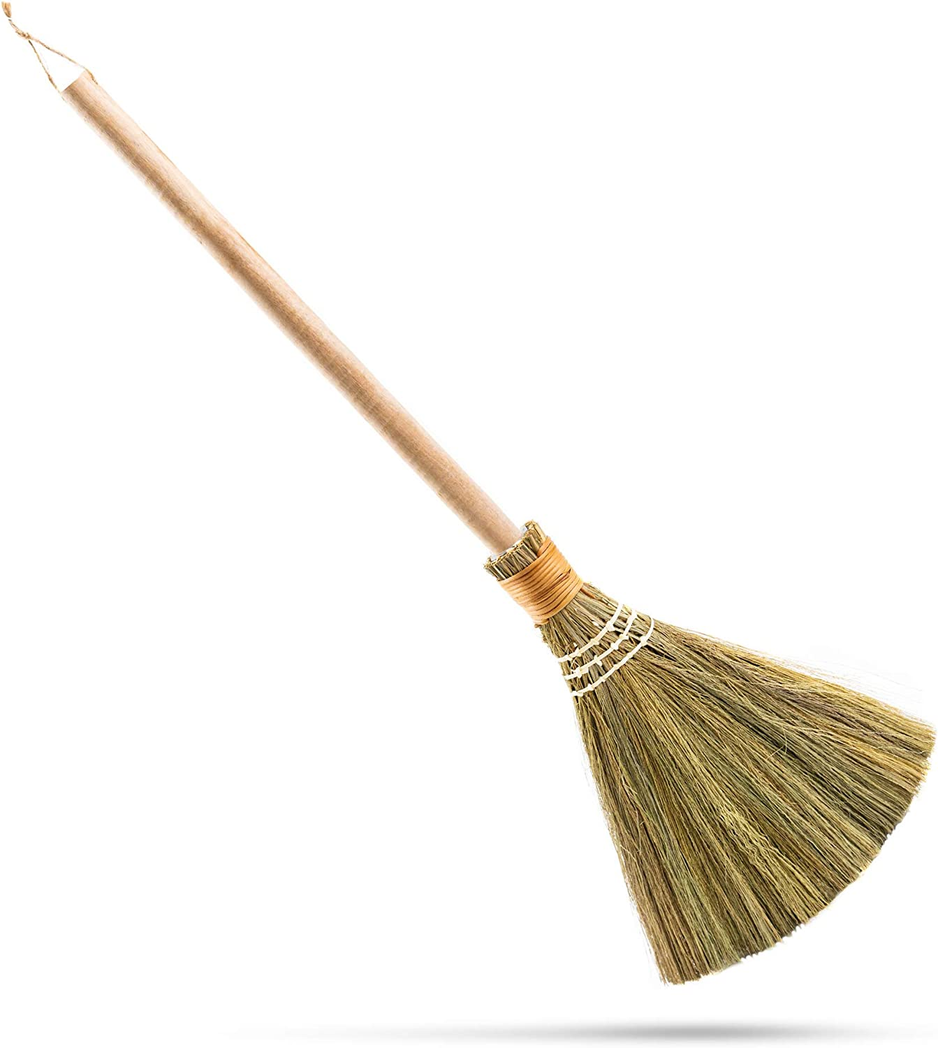 """HNC ECOLIFE Small Natural Whisk Sweeping Hand Handle Broom - Vietnamese Straw Soft Broom for Cleaning Dustpan Indoor - Outdoor - Decorative Brooms - Wooden Handle - 9.06'' Width, 27.55"""" Length : Health & Household"""