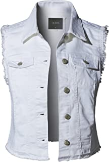 81ebeced0ca69 LE3NO Womens Sleeveless Vintage Distressed Ripped Denim Vest Jacket