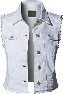 f10c2bc636c62 LE3NO Womens Sleeveless Vintage Distressed Ripped Denim Vest Jacket