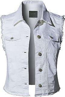 Womens Sleeveless Vintage Distressed Ripped Denim Vest Jacket