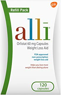Sponsored Ad - alli Weight Loss Diet Pills, Orlistat 60 mg Capsules, Non Prescription Weight Loss Aid, 120 Count Refill Pack