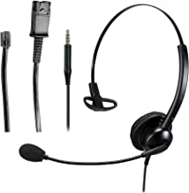 $25 » Telephone Headset w/ RJ9 Crystal Head Quick Disconnect Cable for Cisco IP Phone Plantronics Avaya VoIP Phone Deskphone Lan...