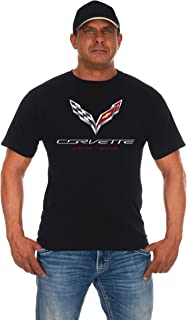 JH DESIGN GROUP Mens Chevy Corvette C7 T-Shirt 2 Styles with American Flag Sticker