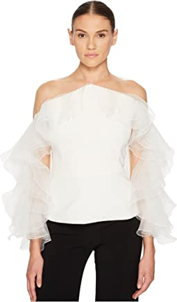 Marchesa Illusion Yoke Crepe Top w/ Silk Organza and Tulle Sleeve