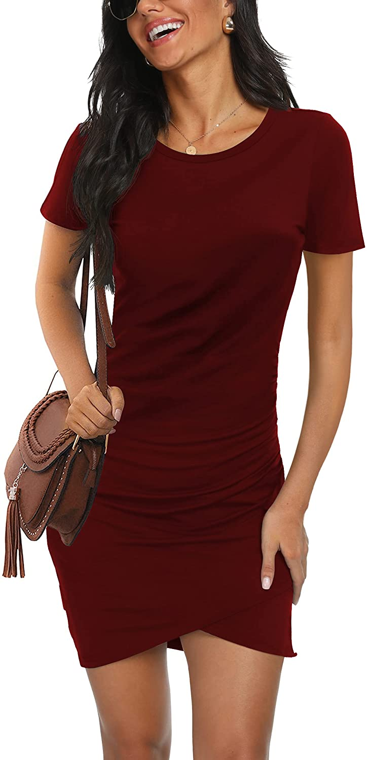 GRECERELLE Women's Sexy Fashion Ruched Stretchy Dress Crew Neck Casual Bodycon T Shirt Short Mini Dresses