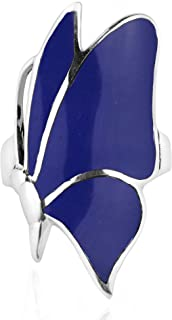 Flying Monarch Butterfly Simulated Blue Lapis-Lazuli Inlay Stone .925 Sterling Silver Ring