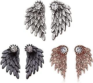 MengPa Angel Wing Punk Stud Earrings Ear Jacket for Women Unique Gothic Cute Fashion Jewelry