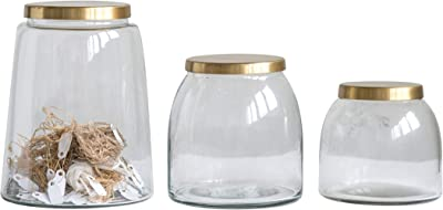 Creative Co-Op Set of 3 Round Glass Jars with Brass Finish Lids 14-Dining/Entertain-Food Storag, Clear