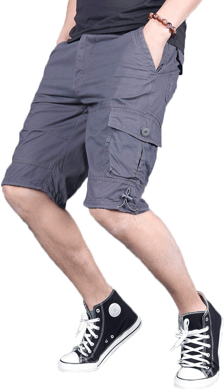 Youhan Men's Casual Elastic Waist Summer Outdoor Cargo Shorts
