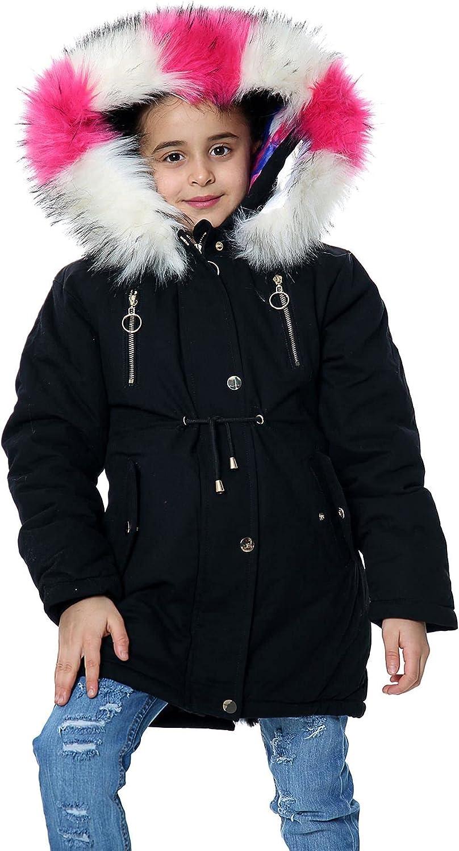 Kids Girls Hooded Parka Jacket School Faux Fur Jane Jackets Outerwear Wam Coats