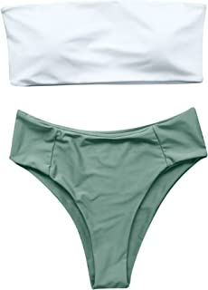 Women's 2 Pieces Bandeau Bikini Swimsuits Off Shoulder High Waist Bathing Suit High Cut