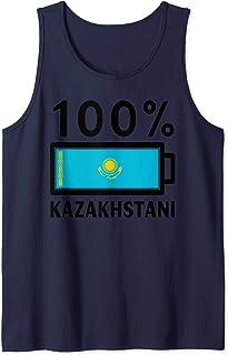 Kazakhstan Flag Design   100% Kazakhstani Battery Power Tee Tank Top