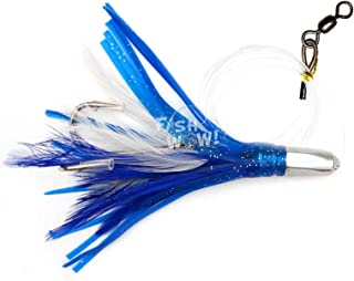 Fish WOW! 4.5 Bullet Super Hex Jet Head Feather Rig Trolling Rigged Double Hook - Blue White