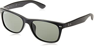 RAY-BAN RB2132F New Wayfarer Asian Fit Sunglasses, Black/Polarized Green, 58 mm
