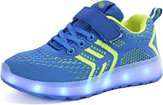 Ansel-UK LED Zapatos Verano Ligero Transpirable Bajo 7 Colores USB Carga Luminosas Flash Deporte de Zapatillas con Luces L...