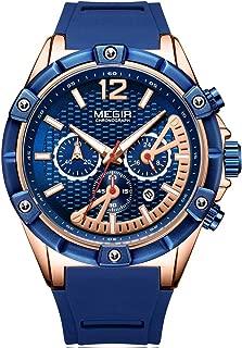 Men's Sports Chronograph Quartz Watches Leather Silicone Waterproof Luminous Army Wristwatch Man