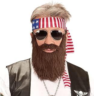 NET TOYS Set Disfraz rockero Banda del Pelo América y Barba Outfit Biker USA Barba tupida Motero Pelo Artificial Ropa Barras y Estrellas Hombre