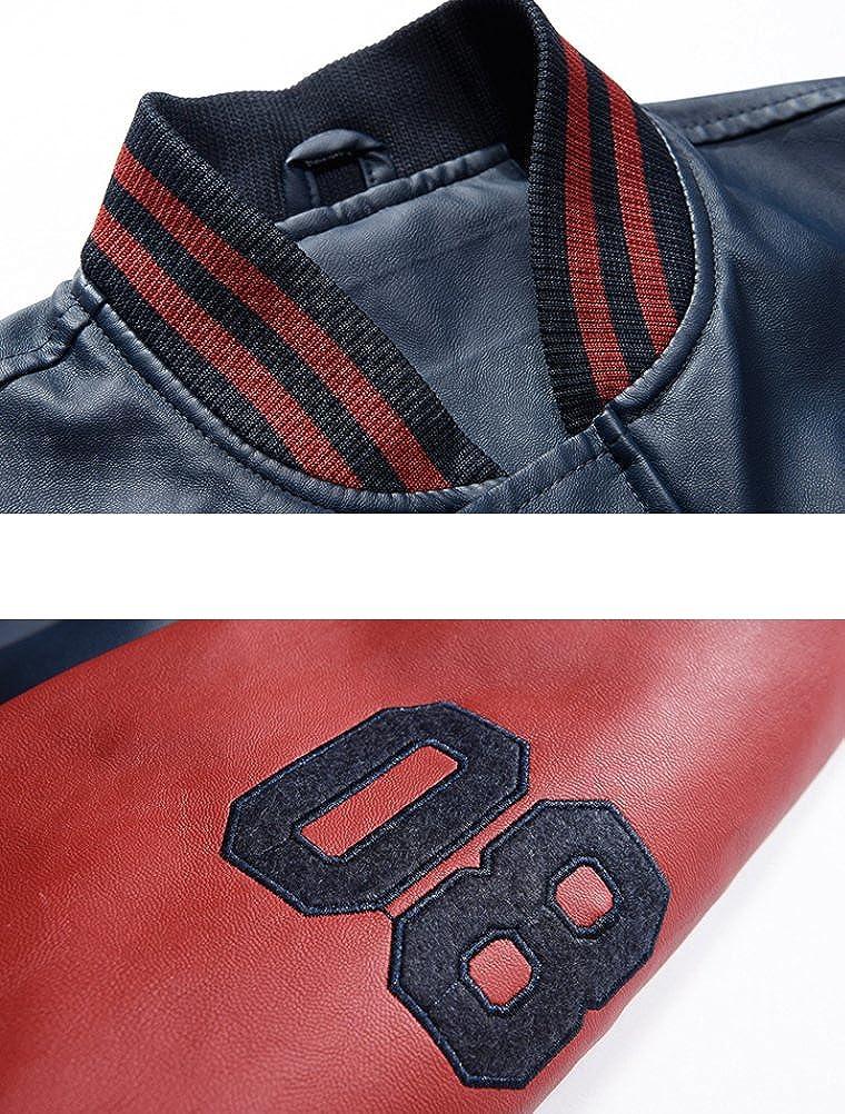 Vogstyle Uomo//Signori//Ragazzi PU Pelle College Baseball Jacket Felpa Motociclista Giacca Giubbotto