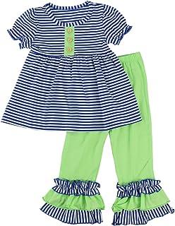 Wennikids Toddler Girls Short Sleeve Ruffle Shirts and Pant Clothing Sets