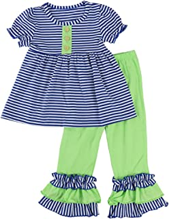 Wennikids Toddler Girls Short Sleeve Ruffle Shirts and Pant Clothing Sets