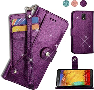 AYMECL Galaxy Note 3 Wallet Case,Galaxy Note 3 Case[Glitter Sparkly Style] Premium PU Leather Kickstand Card Slots Case with ID and Credit Card Pockets for Note 3,Note III,N9000,N9005-PT Purple