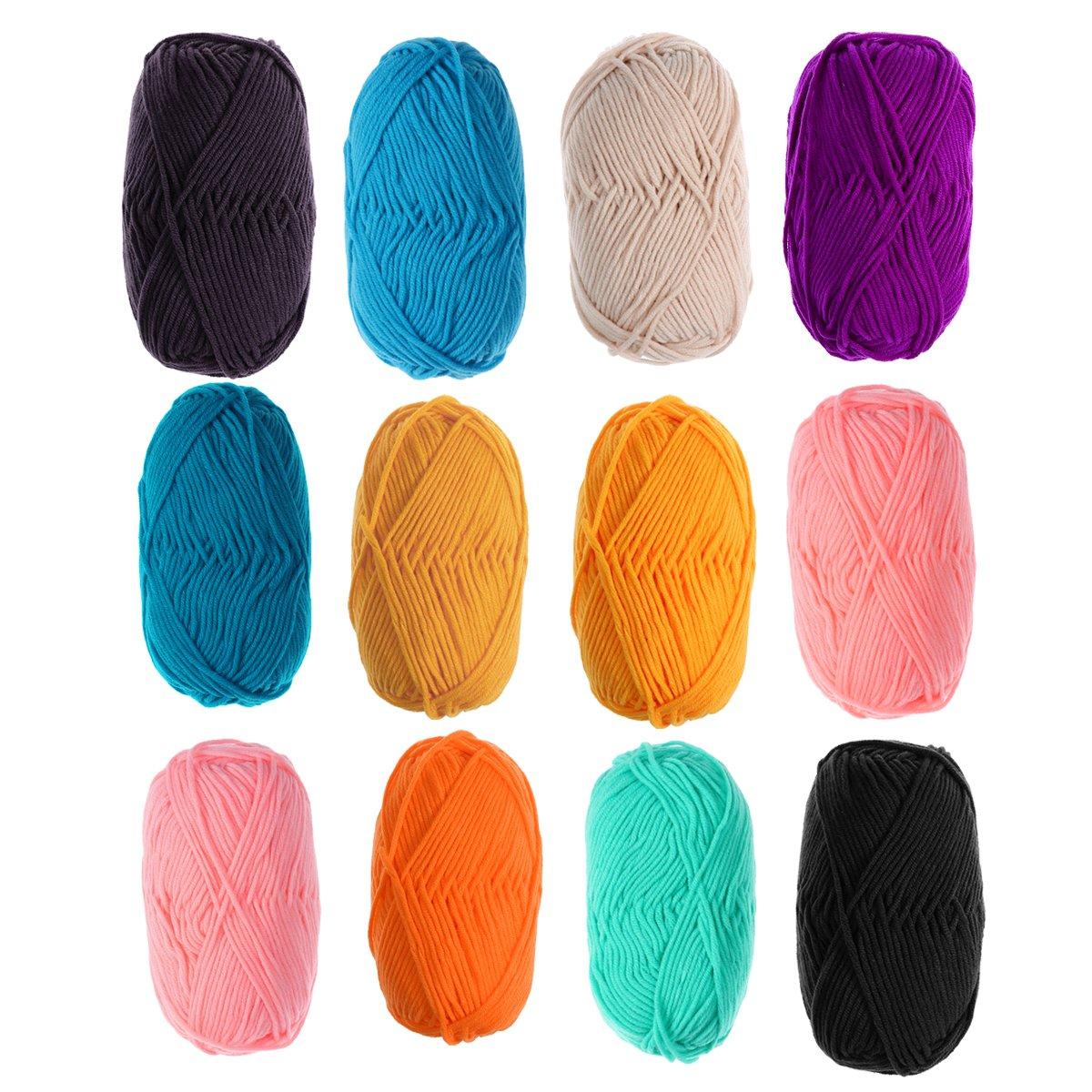 ULTNICE 12 Unids 50g Leche de Punto Hilo de Algodón Caliente Suave Chunky Tejido A Mano de Lana de Hilo de Lanas para Suéteres Sombreros Bufandas DIY: Amazon.es: Hogar