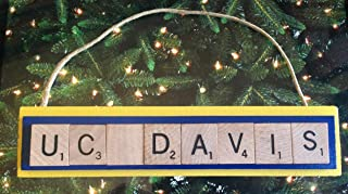AGGIES UC Davis University of California Christmas Ornament Scrabble Tiles