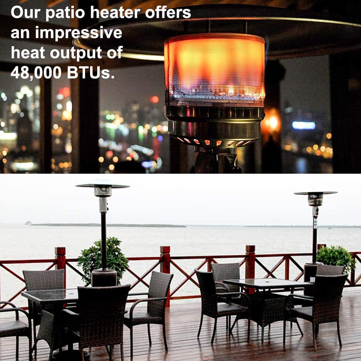 hmercy Outdoor Heater Patio Heaters Propane Outdoor Heater 48000BTU Tall Standing Gardens Heater with Wheels Portable Commercial Outdoor Heater