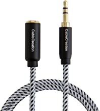 Aux Extension Cable, CableCreation 3.3 Feet 3.5mm Male to Female Extension Stereo Audio Extension Cable Adapter Gold Plated, Compatible Smartphone/Tablet/Speaker,3.5mm Devices& More, Black & White