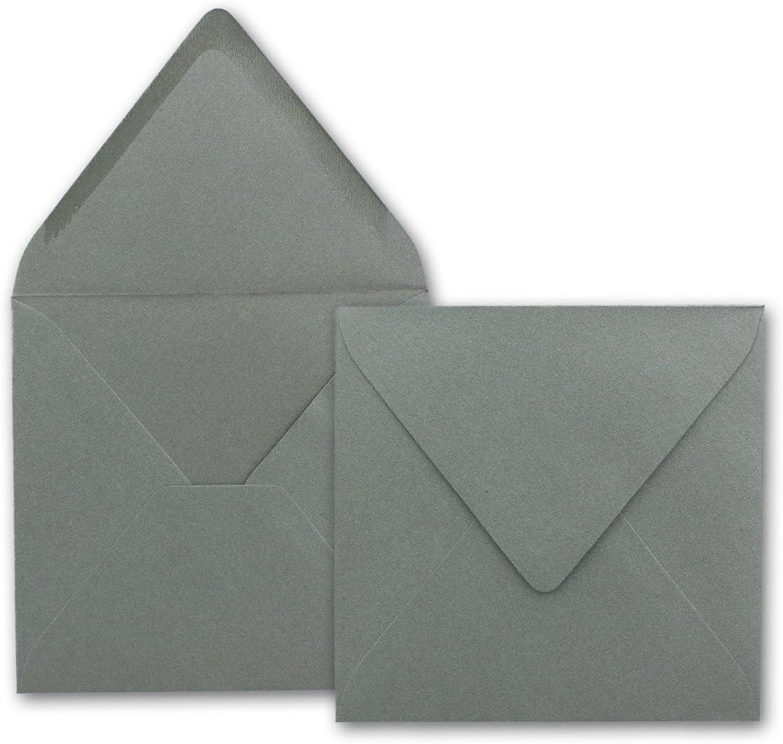 Enveloppes carr/ée 140/x 140/Anthracite m/étallis/é gesamtparent 25 Umschl/äge Silber