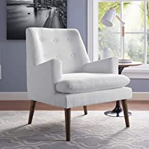 Modway Leisure Mid-Century Modern Upholstered Fabric Lounge Accent Chair in White