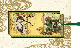 AAY26-1622 和風グリーティングカード/むねかた 「栞 風神雷神図屏風」 (中紙・封筒付) 栞つき 再生紙