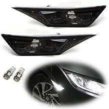 iJDMTOY JDM Smoked Lens White LED Bulb Front Side Marker Light Kit For 2016-up Honda Civic Sedan/Coupe/Hatchback, Replace OEM Amber Sidemarker Lamps