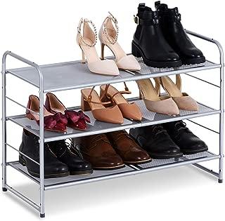 Bextsware Stackable Metal Mesh Utility Shoe Rack Organizer, Expandable Shoe Shelf Storage for Cabinet Closet Bedroom Entryway, Fits Boot, High Heel, Slipper, Sneaker, Sandal, Flats