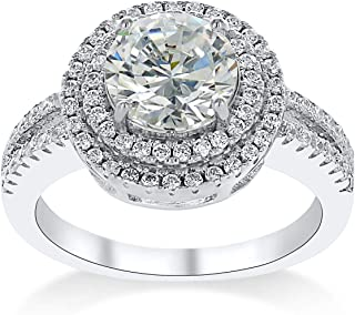 Montage Jewelry Women's Double Halo Round Cubic Zirconia & Sterling Silver Engagement Ring