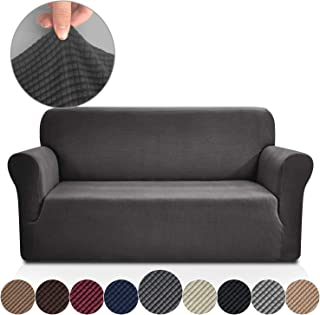 Rose Home Fashion Stretch Couch Covers for 3 Cushion Couch-Couch 1-Piece Covers for Sofa-Sofa Covers,Leather Couch Covers,Couch Covers for Dogs, Sofa Slipcover,Couch slipcover(Sofa: Dark Gray)