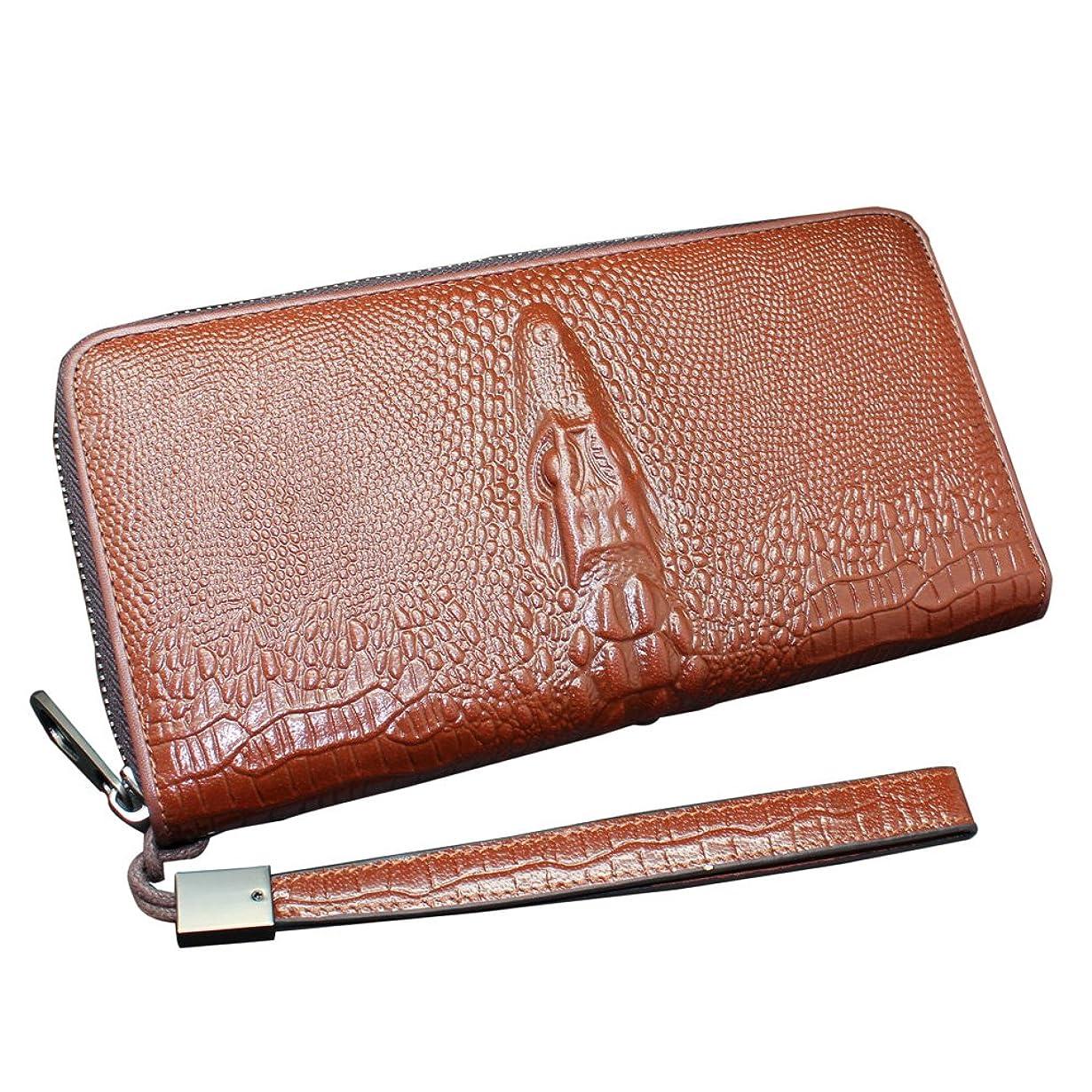 回転仮定周辺[boshiho] 長財布 ワニ ラウンドファスナー レザー 携帯電話 カード入れ 腕掛け 大容量